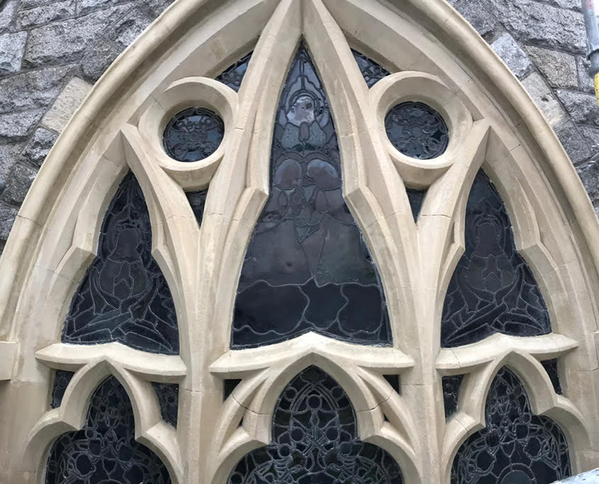 Heritage cleaning works at St Kevin's Church After - P Mac Brick Repair Service
