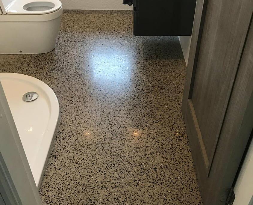 Polished concrete platinum bathroom - P Mac Concrete Polishing