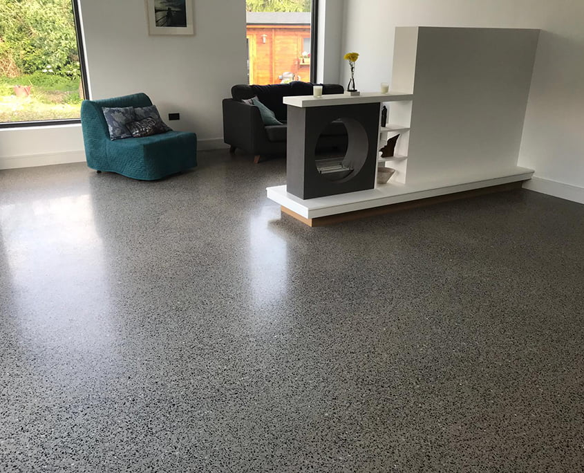 Polished concrete platinum living 1 - P Mac Concrete Polishing