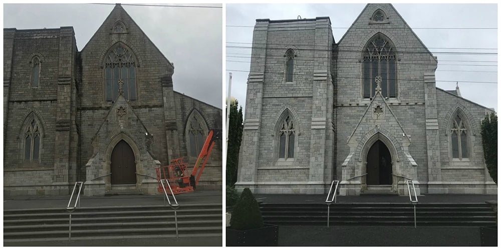 Stone cleaning before and after P Mac